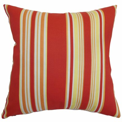 "The Pillow Collection Fergus Stripes Polyester Pillow - Color: Hot Pepper, Size: 20"" x 20"""