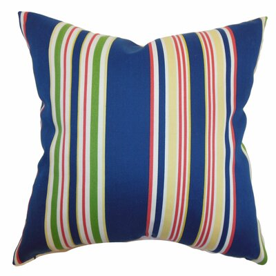 "The Pillow Collection Fergus Stripes Polyester Pillow - Color: Navy, Size: 20"" x 20"""