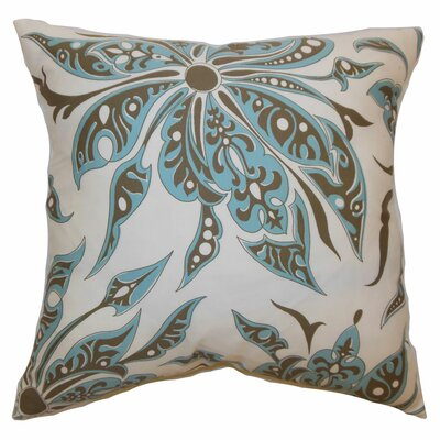 Baiamare Floral Cotton Throw Pillow Color: Aqua Cocoa, Size: 24 x 24