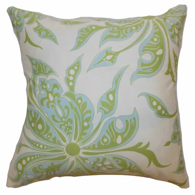 Baiamare Floral Cotton Throw Pillow Color: Aqua Green, Size: 20 x 20