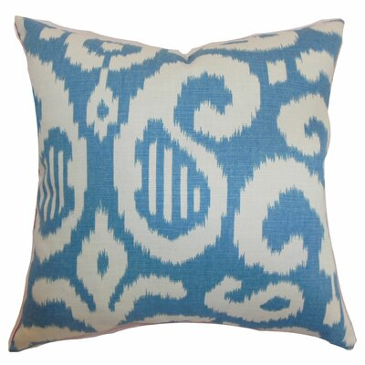 Hohenems Ikat Throw Pillow Color: Aqua, Size: 24 x 24