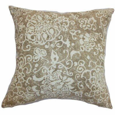 Jaffna Floral Throw Pillow Color: Wheat, Size: 18 H x 18 W