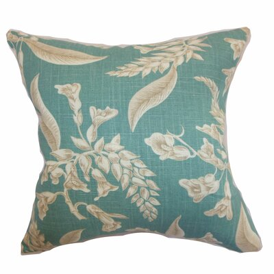 Kaitaia Floral Throw Pillow Color: Aqua, Size: 22 x 22