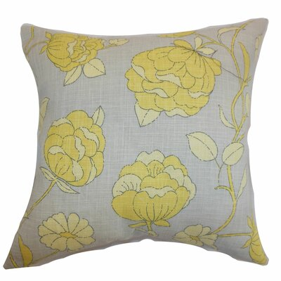 Lalomalava Floral Throw Pillow Color: Grey, Size: 18 x 18