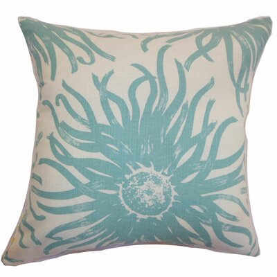 Ndele Floral Throw Pillow Color: Aqua, Size: 20 x 20