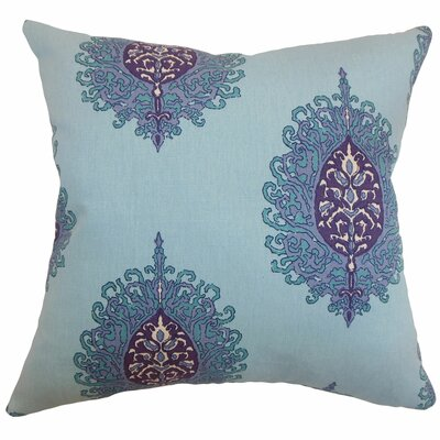 Perigueux Damask Cotton Throw Pillow Color: Aquadisiac, Size: 22 x 22