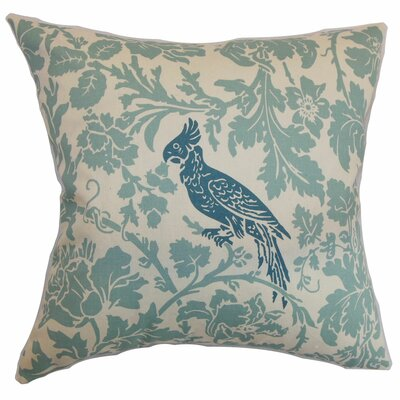 Mandell Floral Cotton Throw Pillow Cover Color: Blue Natural
