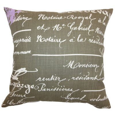 Saloua Typography Cotton Throw Pillow Color: Grapevine Dosset/Grey, Size: 24 x 24