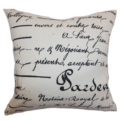 Saloua Typography Cotton Throw Pillow Color: Onyx Natural, Size: 24 x 24
