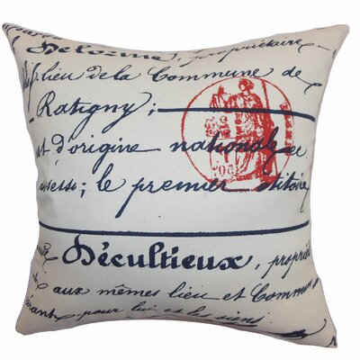 Saloua Typography Cotton Throw Pillow Color: Primary Natural, Size: 22 x 22