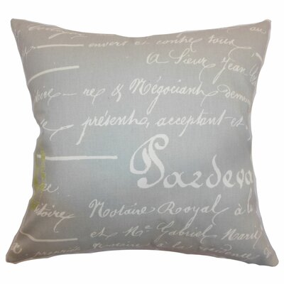 Saloua Typography Cotton Throw Pillow Color: Reed Natural, Size: 22 x 22