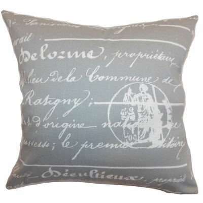 Saloua Typography Cotton Throw Pillow Color: Storm, Size: 22 x 22
