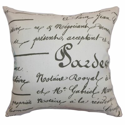 Saloua Typography Cotton Throw Pillow Color: Village Blue Natural, Size: 24 x 24