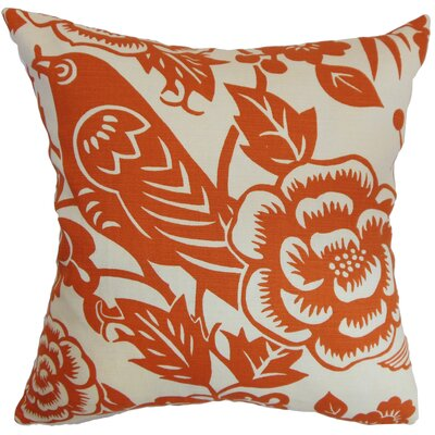 Campeche Floral Cotton Throw Pillow Cover Size: 18 x 18, Color: Tangerine