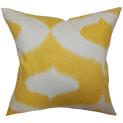 Britannia Ikat Cotton Throw Pillow Cover Size: 20 x 20, Color: Yellow