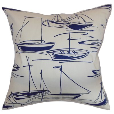 Gamboola Cotton Throw Pillow Color: Navy, Size: 18 x 18