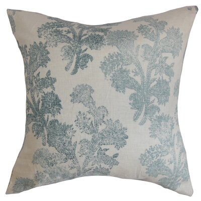 Eara Floral Linen Throw Pillow Cover Size: 18 x 18, Color: Aqua