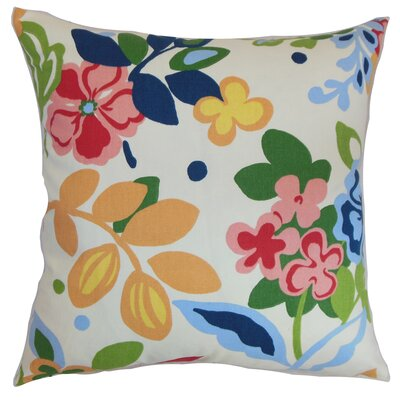 Sainte Floral Cotton Throw Pillow Size: 18x18