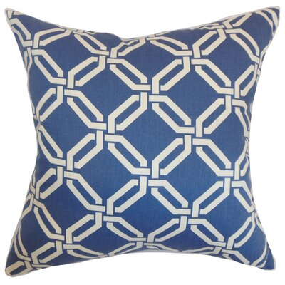 Ulei Cotton Throw Pillow Color: Delft, Size: 24 x 24