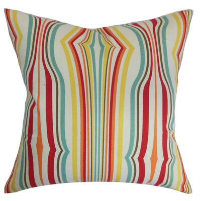 Cachoiera Stripes Cotton Throw Pillow Cover Color: Carnival