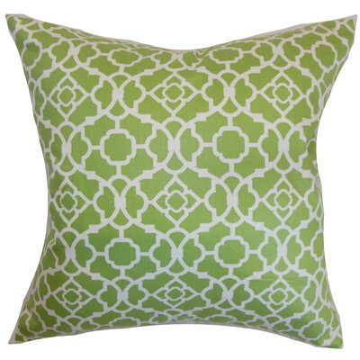 Kalmara Cotton Throw Pillow Color: Green, Size: 18 x 18