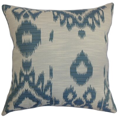 Gaera Ikat Cotton Pillow Color: Denim
