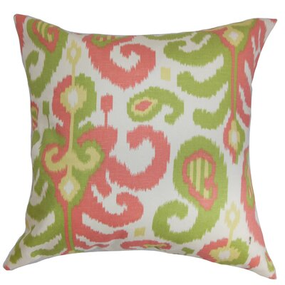 Scebbi Ikat Cotton Throw Pillow Cover Color: Pink Green