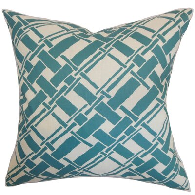 Rygge Cotton Throw Pillow Color: Aqua, Size: 20 x 20