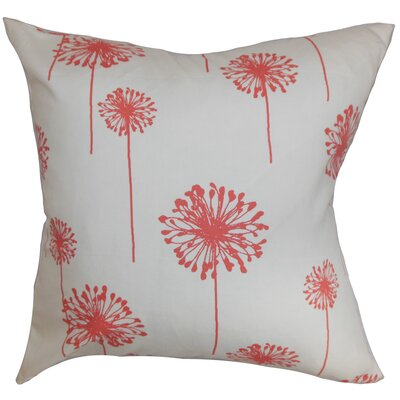 Dandelion Floral Bedding Sham Size: Queen, Color: White/Coral