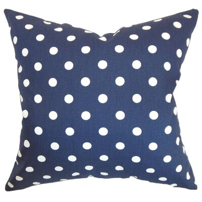 Nancy Polka Dots Throw Pillow Cover Color: Blue White