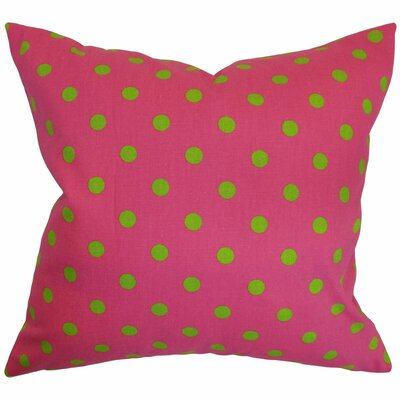 Nancy Polka Dots Throw Pillow Cover Color: Candy Pink Chartreuse