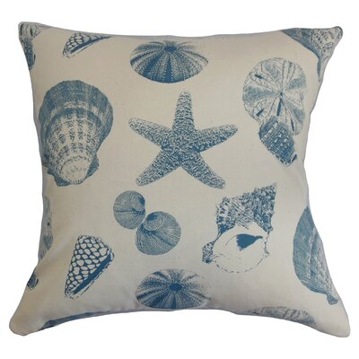 Rata Cotton Throw Pillow Color: White / Blue, Size: 18 x 18