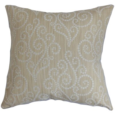 Cienne Swirls Throw Pillow Color: Parchment, Size: 18x18