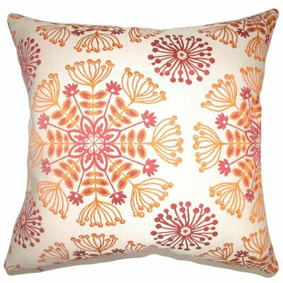 Jamesie Floral Throw Pillow Color: Flame, Size: 18 x 18