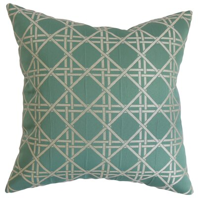 Daniele Cotton Throw Pillow Color: Aqua, Size: 18 x 18