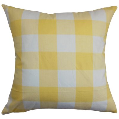 Corene 100% Cotton Throw Pillow Color: Natural Blue, Size: 22 x 22