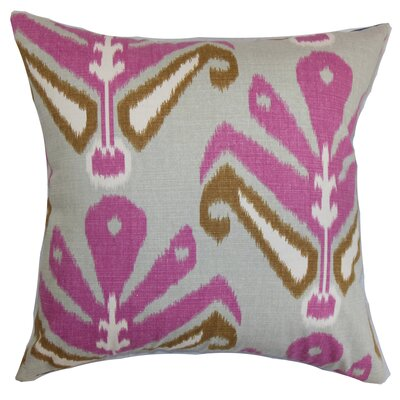 Sakon Cotton Throw Pillow Color: Purple / Brown, Size: 18 x 18