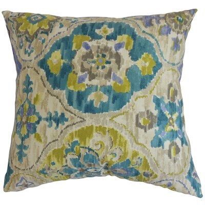 "Vina Floral Cotton Throw Pillow Size: 18"" x 18"" P18-D-42299-SEAGREEN-C100"