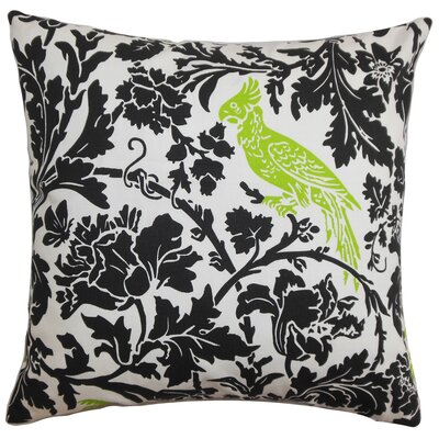 Mandell Cotton Throw Pillow Color: Black / Chartreuse, Size: 18