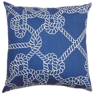 Accalia Cotton Throw Pillow Color: Blue, Size: 18 x 18