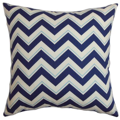 Deion Cotton Throw Pillow Color: Bluebell, Size: 18 x 18