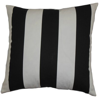 Leesburg Cotton Throw Pillow Color: Black and White, Size: 18 x 18
