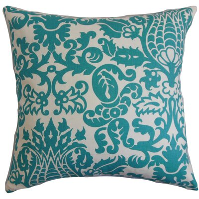 Cernobbio Floral Cotton Throw Pillow Cover Color: Turquoise