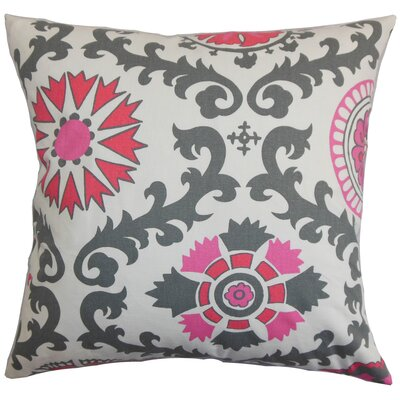 Brindalla Cotton Throw Pillow Color: Flamingo, Size: 18 x 18