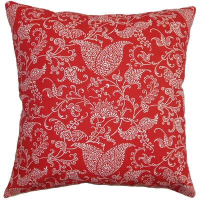 Aderyn Cotton Throw Pillow Color: Lipstick, Size: 18x18