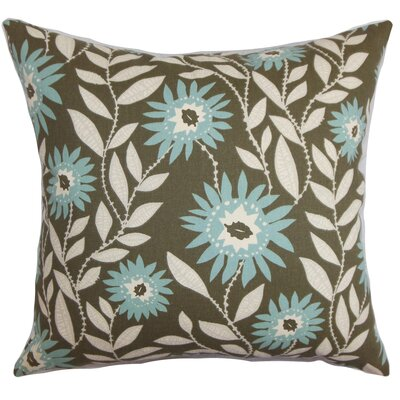 "Leena Cotton Throw Pillow Color: Blue / Brown, Size: 18"" x 18"" P18-PP-FENTON-VILLAGEBLUE-C100"