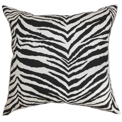 Cecania Cotton Throw Pillow Color: Black, Size: 18 x 18