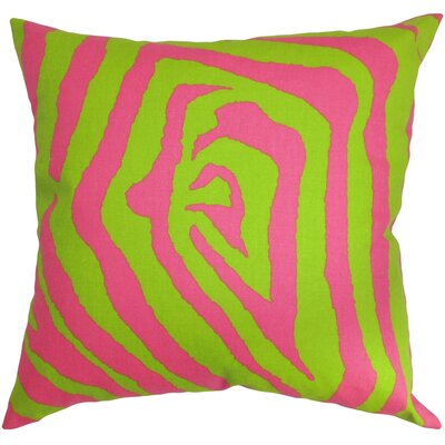 Burkett Zebra Cotton Throw Pillow Cover Color: Chartreuse Pink