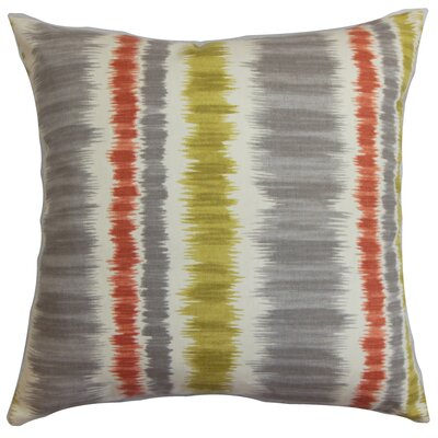 Odile Stripes Cotton Throw Pillow Cover Color: Gray Green