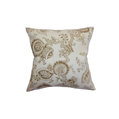 Paionia Floral Linen Throw Pillow Cover Size: 18 x 18, Color: Blue